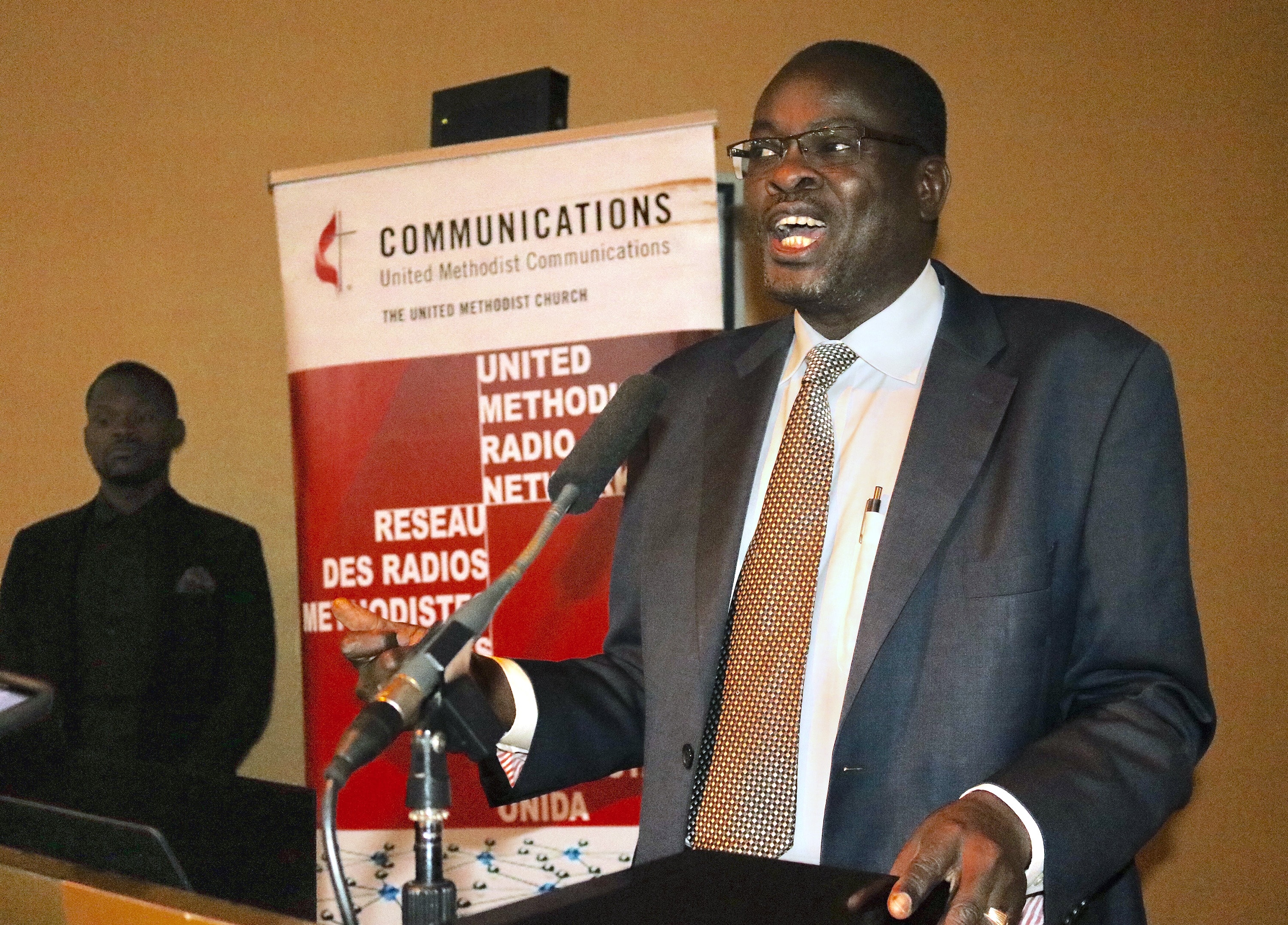 """Bishop Daniel Wandabula of the East Africa Episcopal Area called on communicators to """"unite the church (rather) than perpetuate divisions"""" while speaking at the United Methodist Radio Network annual meeting, April 25-27, in Kampala, Uganda. Photo by the Rev. Taurai Emmanuel Maforo."""
