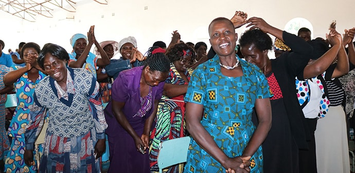 "Women from the Marage District in Zimbabwe celebrate new opportunities at a business expo hosted by The United Methodist Church. The theme of the event was ""Evangelizing Through Economic Empowerment."" Photo by Priscilla Muzerengwa, UMNS."
