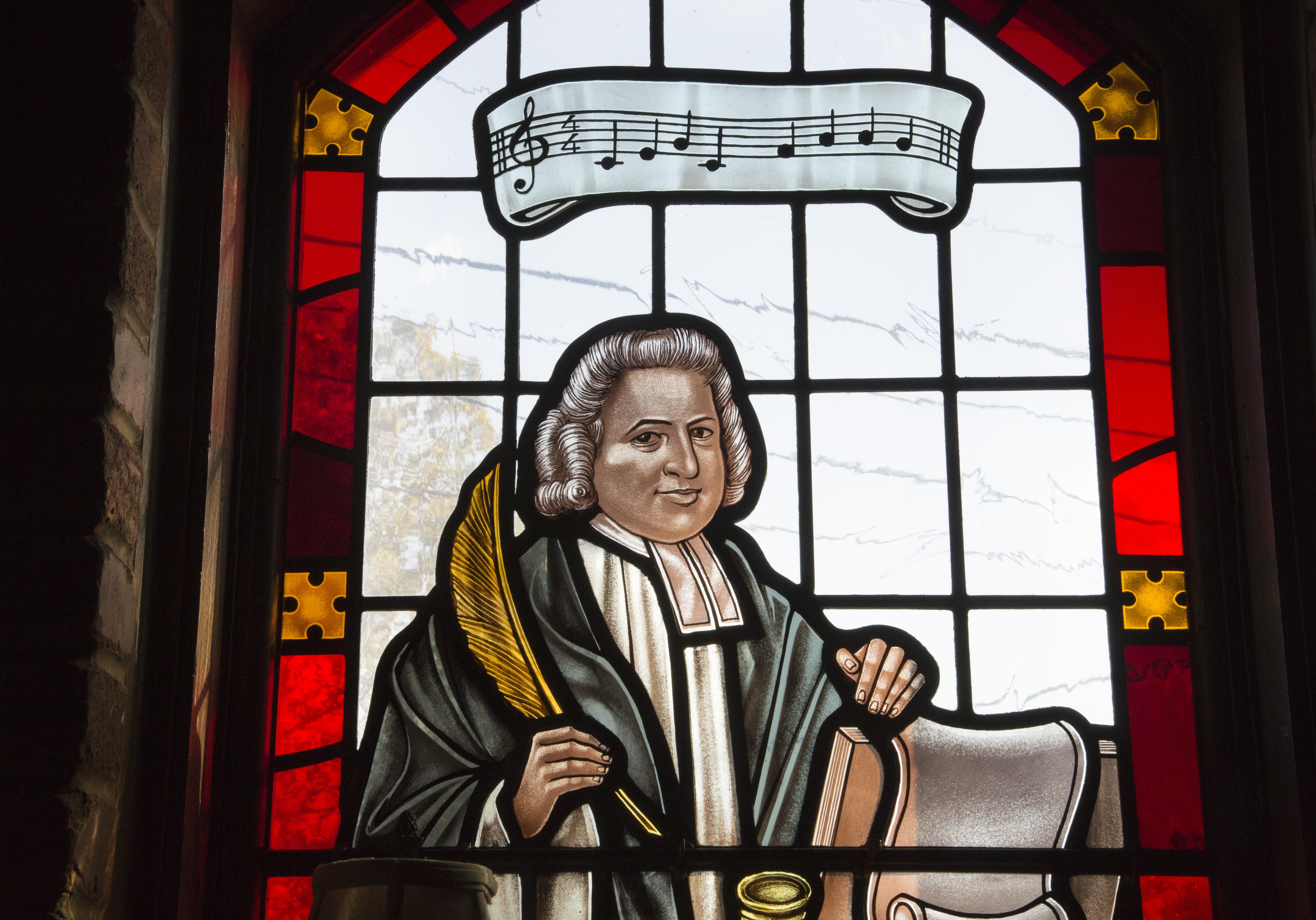 Vitral de Carlos Wesley en la Iglesia Metodista Unida Grace de Atlanta, parte del Centro Global de Mision de La Iglesia Metodista Unida. Foto de Kathleen Barry, UMCOM.