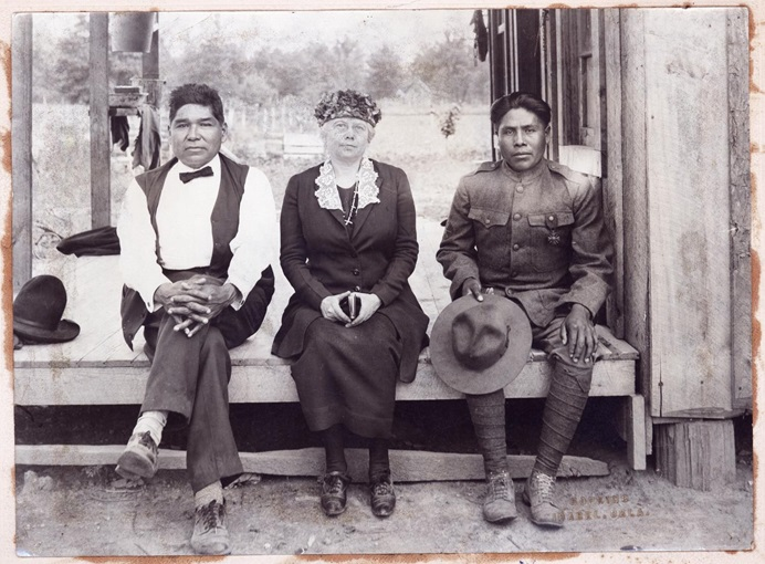From left, John Golombie, Chickasaw Czarina Colbert Conlan and Choctaw Joseph Oklahombi are pictured at Oklahombi's home near Wright City, Oklahoma in 1921. Oklahombi was the most decorated World War I soldier from Oklahoma. Photo by Hopkins, courtesy of the Oklahoma Historical Society.