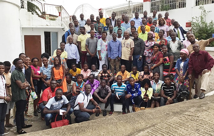 Some participants of the Next Generation Forum gather for a group photo in front of S.T. Nagbe United Methodist Church in Monrovia, Liberia. Similar events are planned in the 20 districts and one circuit of the Liberia Conference. Photo by E Julu Swen, UM News.