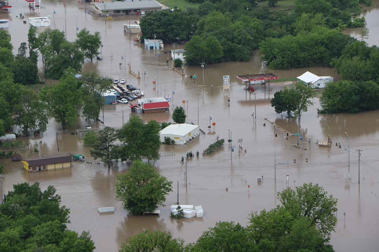 Uma vista aérea de inundações em Skiatook. Foto de Lindsey Chastain, do Jornal Skiatook.
