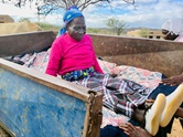 Janet Mutsengi, 85, arrives in an ox-drawn cart to seek medical care from the staff at the Dindi United Methodist Clinic in Zimbabwe. The United Methodist Church is helping provide health services to underserved communities through an outreach program. Photo by the Rev. Taurai Emmanuel Maforo, UM News.