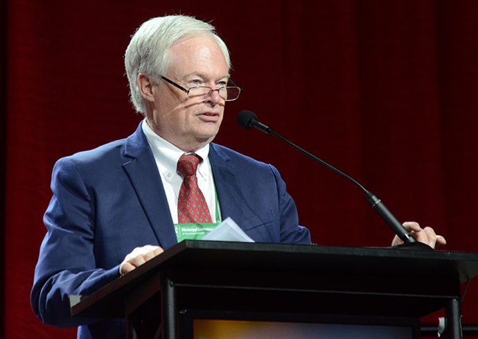David Stotts speaks during the 2019 Mississippi Annual Conference meeting in Jackson. Stotts is treasurer and director of finance and administration for the conference. Photo courtesy of Greg Campbell Photography Inc.