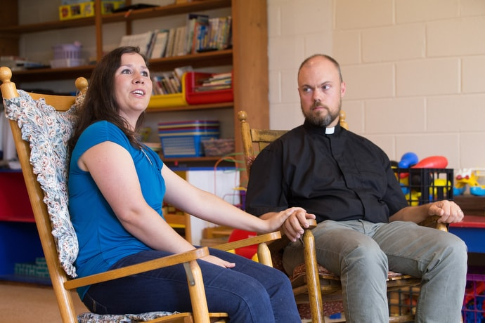 Rachel Porter and the Rev. David Johnston began as foster parents before adopting two children from a home with opioid addiction. West Virginia has one of the highest rates in the nation of children removed from homes due to drug abuse. Photo by Mike DuBose, UM News.