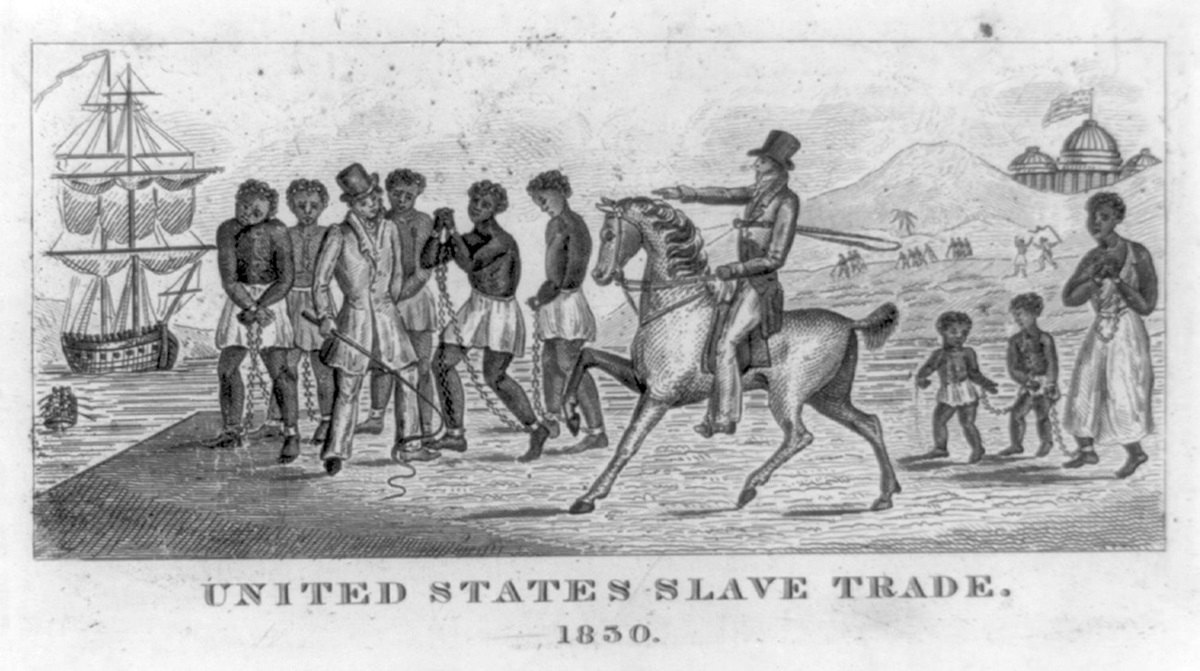 An engraving from 1830 depicts the slave trade in the United States. The U.S. Capitol is visible in the background.  To mark the 400th anniversary of the first African people being brought to the U.S. as slaves, a study guide and other resources have been prepared to help United Methodists better understand that haunting legacy. Engraving from the Library of Congress.