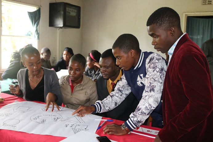 Youth from the East Zimbabwe Annual Conference participate in team-building exercises as part of their training in learning to promote drug-free communities. Photo by Eveline Chikwanah, UM News.