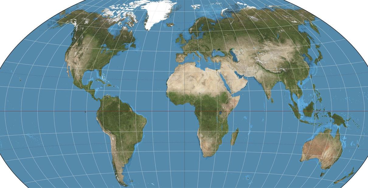 Carte du monde, avec la permission de Wikipedia Commons.