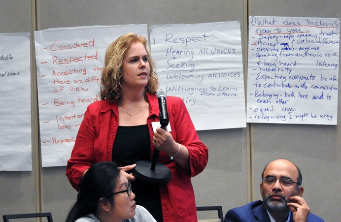 Christine Dodson asks a question at the General Council on Finance and Administration board meeting on July 18 in Dallas. Dodson serves as vice president of GCFA's board and is treasurer of the North Carolina Conference. She and fellow board members discussed reduced giving across the church since General Conference 2019, a contentious event that underscored the church's divisions over how accepting to be of homosexuality. Photo by Sam Hodges, UM News.