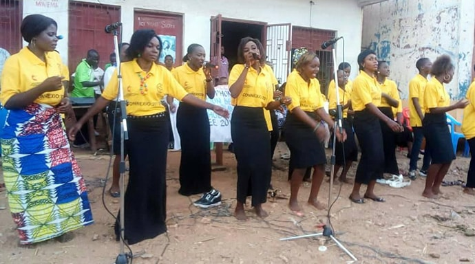 A United Methodist women's choir sings during a consultation on peace and Christian unity in Uvira, Congo. Photo by Philippe Kituka Lolonga, UM News.