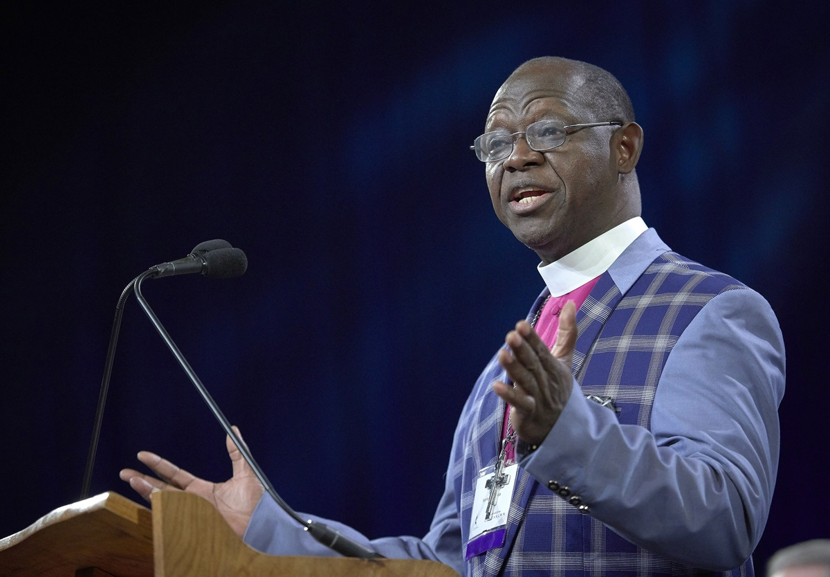 Bishop John Yambasu speaks during the opening session of the 2019 United Methodist General Conference in St. Louis in February. Yambasu, leader of the Sierra Leone Conference, called a July meeting on behalf of United Methodists outside the U.S. to explore possible separation over the church's policies regarding LGBTQ persons. File photo by Paul Jeffrey, UM News.