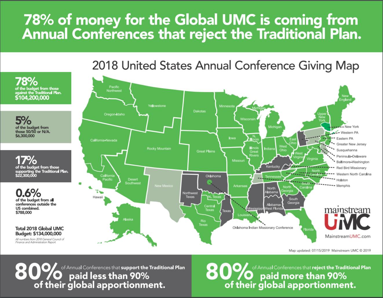 미국 내 연회별 세계선교분담금 지급 내역 지도. 그래픽제공, MainstreamUMC.