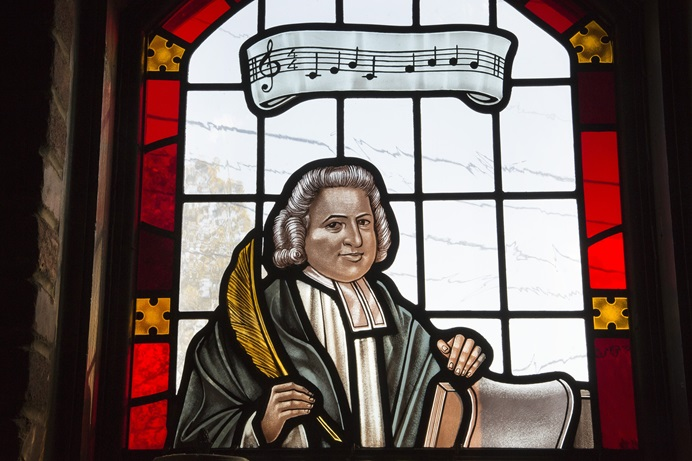 Stained glass window featuring Charles Wesley from Grace United Methodist Church in Atlanta, part of the United Methodist Church Global Mission Center. Photo by Kathleen Barry, United Methodist Communications.