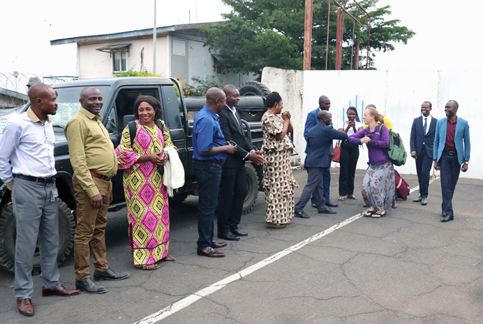 Megan Klingler greets United Methodists after arriving in Goma, Congo, Aug. 20. The Montana nurse, who works with the United Methodist Board of Global Ministries' Global Health unit, will visit six cities during her three-week trip to conduct training sessions to help stop the spread of Ebola. Photo by Philippe Kituka Lolonga, UM News.