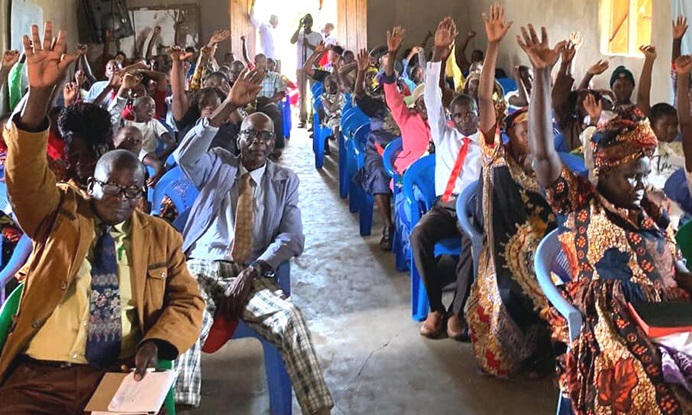 The congregation of First United Methodist Church Moheto in southwestern Kenya votes to become reconciling. With the Sept. 1 vote, the congregation announced its intentions to support the equality of LGBTQ people in church life. Photo courtesy of First United Methodist Church Moheto.