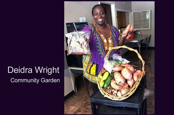 The Rev. Deidra Wright shows off some of the bounty of the community garden at Columbia Drive United Methodist Church, which she founded. Photo courtesy of Columbia Drive United Methodist Church.