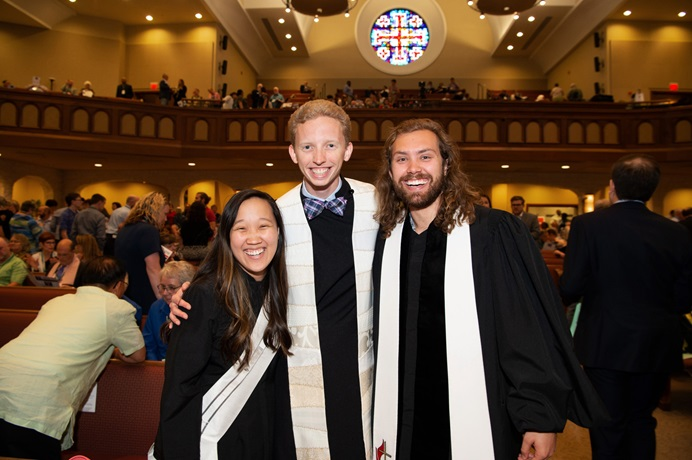The Revs. Maggie Proshek (left), Ricky Harrison (center) and Taylor Smith are young clergy in the North Texas Conference. All three were ordained at annual conference this summer, Proshek as deacon and Harrison and Smith as elders. The North Texas Conference has become one of the top U.S conferences in percentage of elders 35 and under, a new report shows. Nationally, the number of young elders has declined for three straight years. Photo by Hillsman S. Jackson, North Texas Conference.