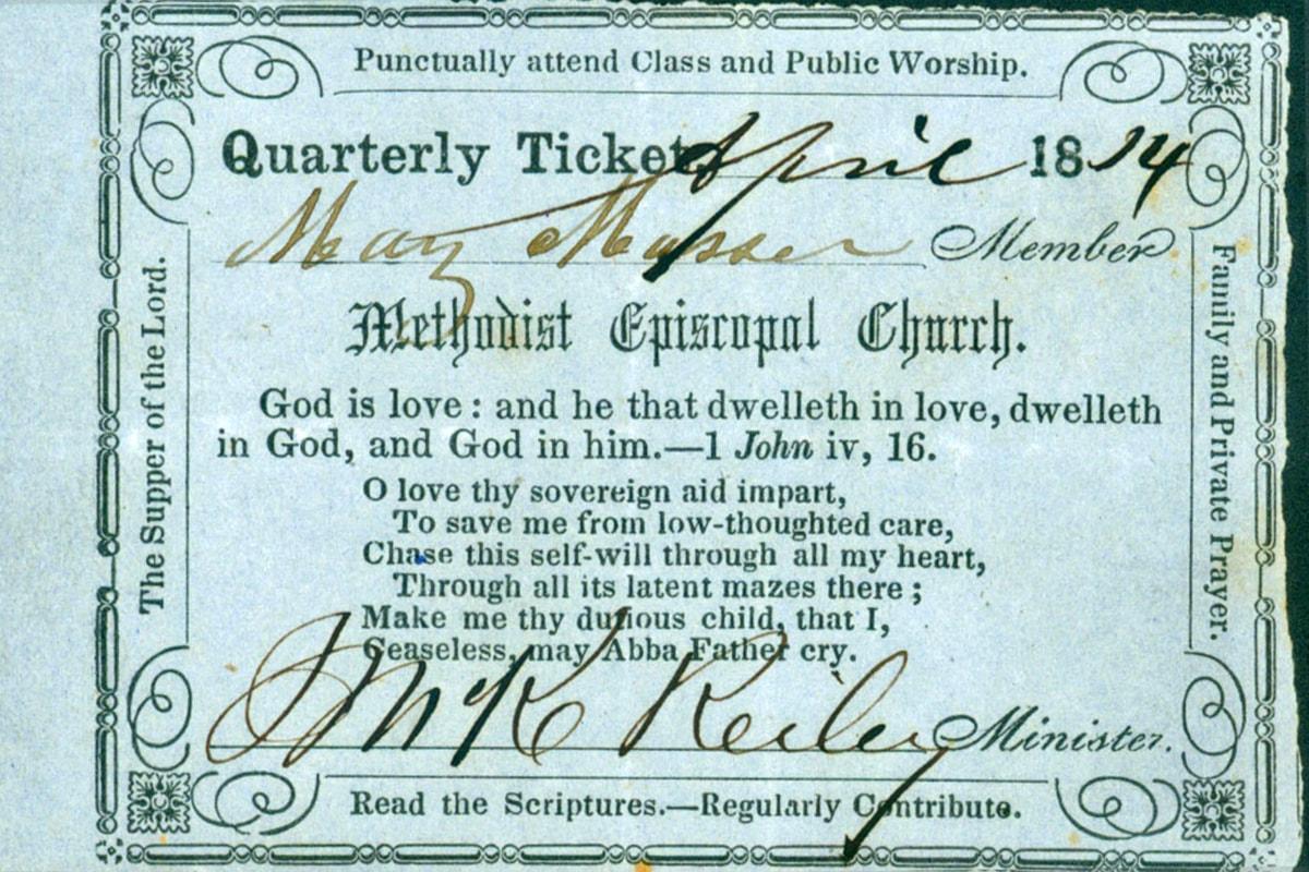 L'admission à une réunion de la société exigeait un billet d'une réunion de classe. Aux abords de ce billet, à partir de 1814, se trouvent plusieurs témoignages d'actes de piété. Photo de la Commission générale des archives et de l'histoire.