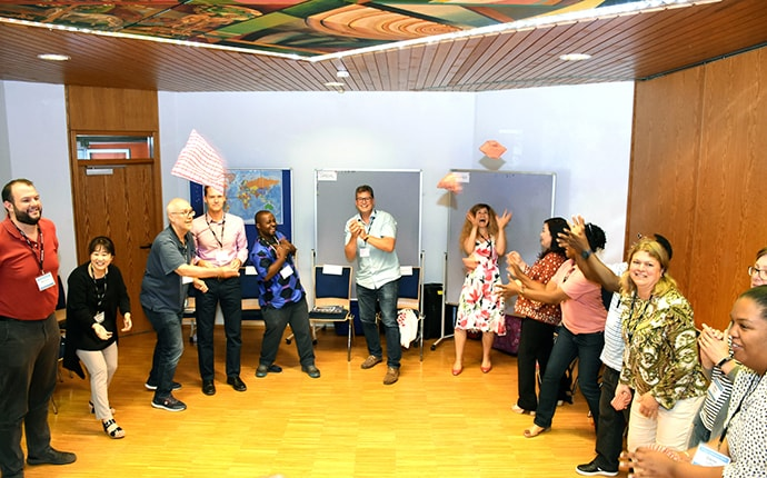 Participants enjoy a fun activity at the United Methodist Board of Global Ministries' training event at The United Methodist Church of Germany Educational and Training Center in Stuttgart, Germany, Aug. 22-30. Photo by Üllas Tankler, Board of Global Ministries.