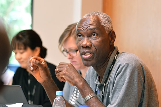 William Davis  talks during a migration-focused training event at The United Methodist Church of Germany Educational and Training Center in Stuttgart, Germany. Many churches are receiving new members who speak different languages and worship according to different traditions. Photo by Klaus U. Ruof, UM News.