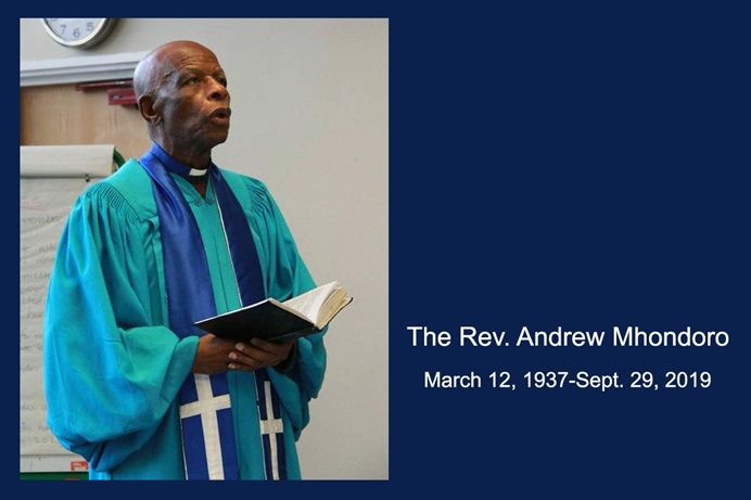 The Rev. Andrew Mhondoro, a tailor and United Methodist pastor, sewed the clergy shirts and gowns for many of Zimbabwe's United Methodist pastors. Mhondoro died Sept. 29 at age 82. Photo courtesy of The UMC UK Media & Publications.