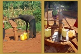 Community members access water at new boreholes near United Methodist churches in the Uganda-South Sudan Conference. With the help of churches in Georgia and Florida, five boreholes were drilled in the East Africa Episcopal Area. Photos courtesy of the Rev. Isaac Kyambadde.