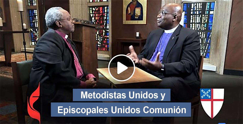 El Obispo Gregory Palmer (copresidente del comité de diálogo) y el obispo presidente de la Iglesia Episcopal Michael Curry discuten la comunión plena entre las dos denominaciones. Foto cortesía del Concilio de Obispos/as de La Iglesia Metodista Unida.