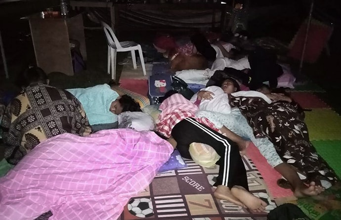 People affected by the recent earthquake in In Kidapawan City in Mindanao, Philippines, sleep outside in tents on the campus of Southern Philippines Methodist College.  Photo by Rhea Jane Donisa.