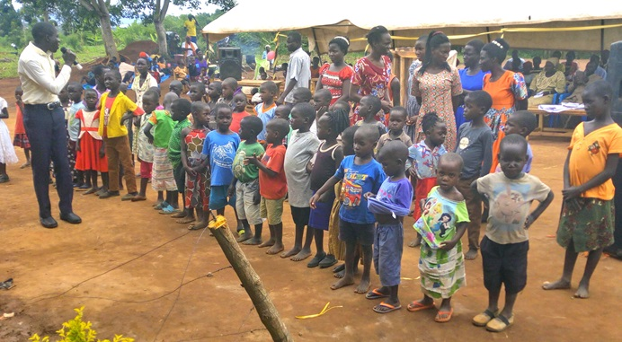 Children ages 3-7 attend the new Magooli Academy for Children in Lugala, Uganda. United Methodist deacon Joseph Zalambi of Grace United Methodist Church-Magooli opened the preschool to help orphaned and vulnerable children. Photo by Vivian Agaba, UM News.