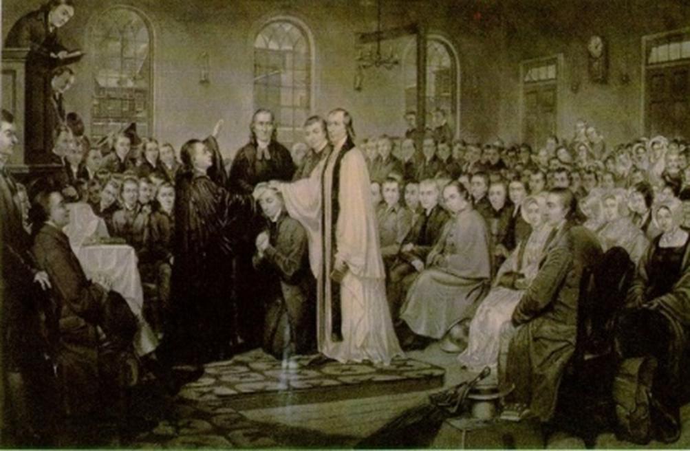1784년 12월 27일, 미감리교회가 결성된 크리스마스연회에서 프랜시스 에스베리를 감독으로 성임하는 모습. 크리스마스연회는 영국 국교회로부터 분리, 북미에 있는 성공회로부터 분리 그리고 영국의 웨슬리와 감리교로부터 분리  등 3가지 중요한 결정을 내렸다. 길크리스트의 판화, 뉴욕, 1882. 사진 연합감리교회 교회역사보존위원회 제공.
