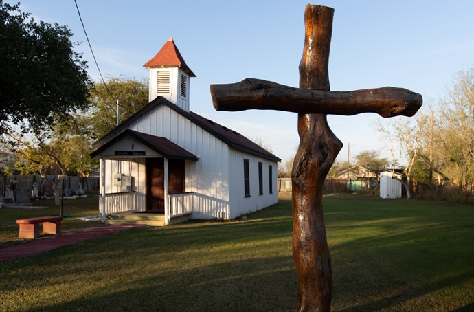 Jackson Chapel United Methodist Church in San Juan, Texas, is known as the first Spanish-speaking Protestant Church in the Rio Grande Valley. The chapel held services until it was flooded in 2008. President Trump's proposed border wall is slated to run through the property and two historic cemeteries. File photo by Mike DuBose, UM News.
