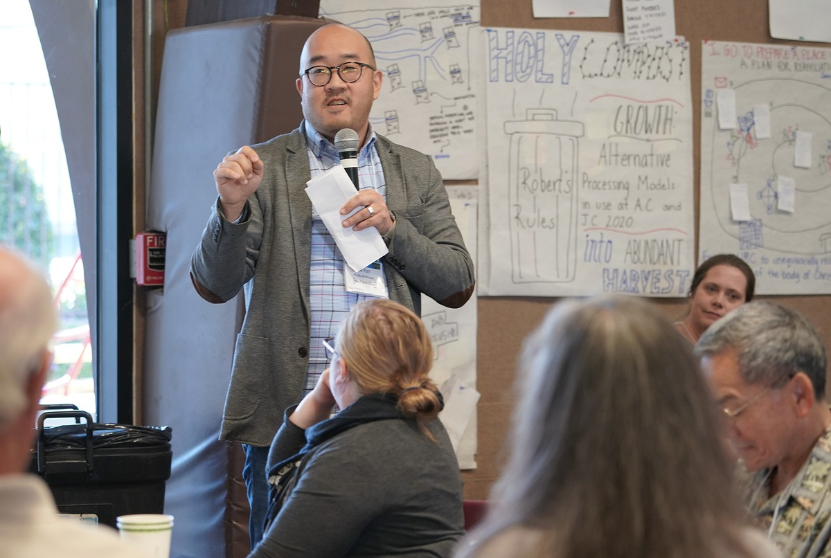 The Rev. Joe Kim, Bothell United Methodist Church, Washington, presents his table's concept for a visioning team to take ideas from the summit and make a report to the 2020 Western Jurisdiction. Photo by Charmaine Robledo.