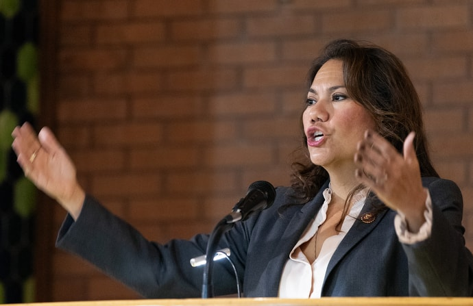 """U.S. Rep. Veronica Escobar tells members of the United Methodist Immigration Task Force, meeting in El Paso, Texas, that U.S. immigration policies have brought the country to """"one of the darkest points in American history for our generation."""" Escobar serves the 16th congressional district in Texas. Photo by Mike DuBose, UM News."""