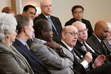 "Kenneth Feinberg (holding microphone), speaks during a livestreamed panel discussion in Tampa, Fla., with members of the team that developed a new proposal that would maintain The United Methodist Church but allow traditionalist congregations to separate into a new denomination. Feinberg moderated the work of the team that created the proposal, called the ""Protocol of Reconciliation & Grace Through Separation."" Photo by Sam Hodges, UM News."