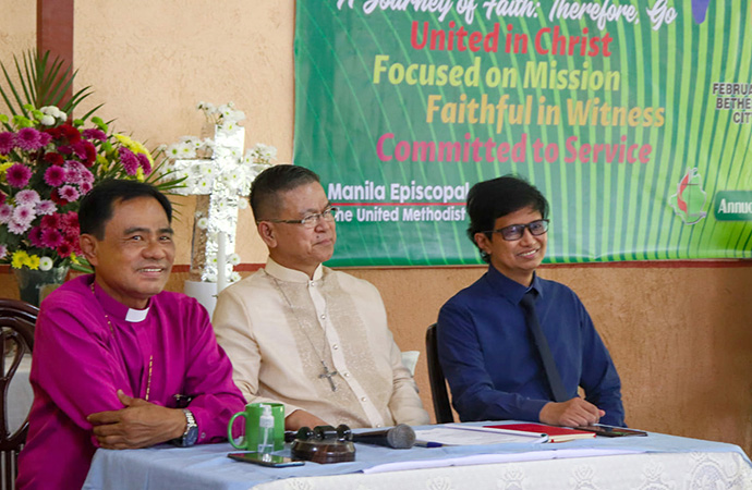 United Methodist Bishops Rodolfo A. Juan (left), Ciriaco Q. Francisco (center) and Pedro M. Torio Jr. preside over a session of the Philippines Annual Conference Cavite, meeting in Tagaytay City, Philippines. The conference endorsed and sent to the 2020 General Conference legislation for the Protocol of Reconciliation & Grace Through Separation and for the Christmas Covenant, two key proposals for the future of The United Methodist Church. Photo courtesy of the United Methodist Youth Fellowship of Philippines Annual Conference, Cavite.