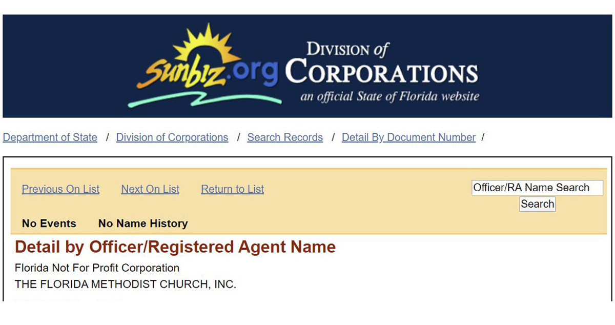 """The top portion of an incorporation application for """"The Florida Methodist Church"""" filed Feb. 7, 2020. Three Florida Conference cabinet members filed the papers, although two later decided to remove their names. Document from the Florida Secretary of State's office."""