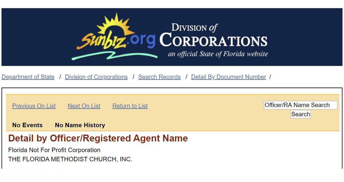 지난 2월 7일 3명의 플로리다 연회 감리사가 새로운 교단 설립을 위한 교단 창립 정관에 자신들의 이름을 올렸지만, 그중 2명은 추후에 자신의 이름을 삭제하기로 했다고 발표했다. 사진은 플로리다주 총무처에 제출한 플로리다감리교회 설립 신청서 상단의 모습.
