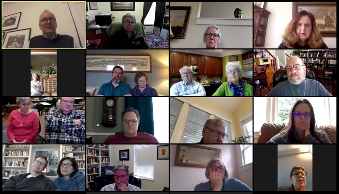 The Friendship Sunday school class of Belmont United Methodist Church in Nashville, Tenn., meets online Sunday, March 15, 2020, after church leadership encouraged people to worship from home in response to the coronavirus. Image courtesy of Susan Hay.