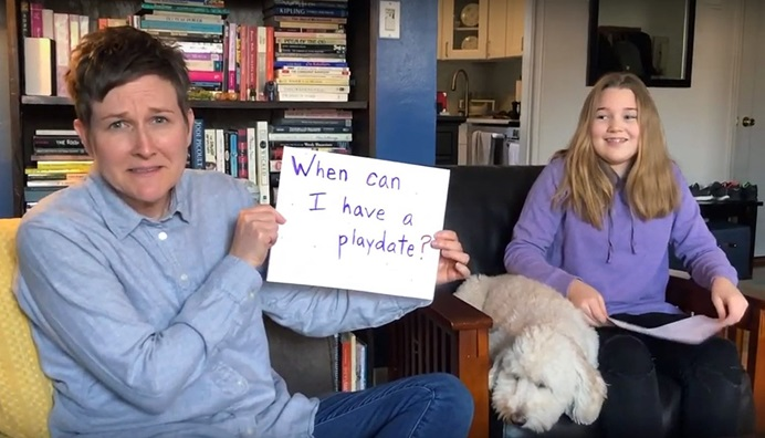 "The Rev. Lea Matthews (left), associate pastor of St. Paul & St. Andrew United Methodist Church in New York City, offered a ""Message for All Ages"" about worry in a recent YouTube video, along with her daughter Nora. Churches are using creative ways to connect with and reassure children during the COVID-19 pandemic. Video image courtesy of St. Paul & St. Andrew United Methodist Church."